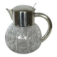 Stunning English Cut Glass Crystal and Silver Plate Lemonade Pitcher, Pimms or Water Jug C.1900