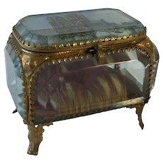 Antique French Bevelled Glass, Trinket Box, Jewel Casket. Souvenir Notre Dame De Paris Cathedral