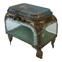 Antique French Bevelled Glass, Trinket Box, Jewel Casket. C.1890