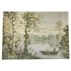 LARGE 19th Century French Tapestry Wall Hanging. Signed D'apres Corot. C1890