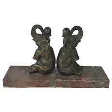 Delightful Pair of Vintage Elephant Bookends C. 1920s