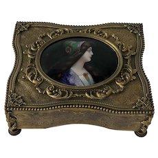 19th Century French Ormolu or Bronze Dore Jewel / Trinket Box.