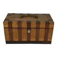 Early 19th Century English Tea Caddy, Striped Two Toned Veneer. Circa 1830.