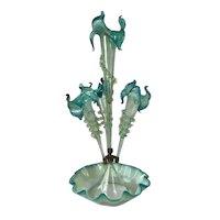Art Nouveau Four Trumpet Glass Epergne, Circa 1880.