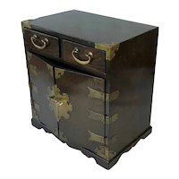 Vintage Asian Oak Jewel Box. With Attractive Brass Fittings. C.1920.
