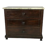 19th Century French Miniature Mahogany Three Draw Commode With Marble Top
