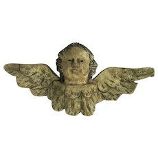 Antique Angel Head With Wings, Glass Eyes, Antique Hand Carved, Hand Painted. C1790.