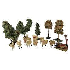 German Flock Of Sheep With Shepherd And Trees