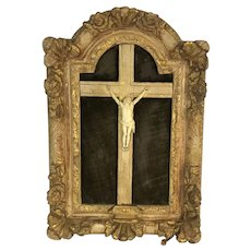 18th Century French Crucifix In Carved Gilt Wood Frame