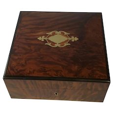 Antique French Mahogany/Inlaid Brass Design Jewel Box. C.1880.