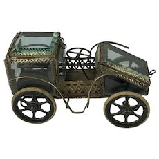Very Rare, French Bevelled Glass, Motor Car Trinket Box. C.1920's