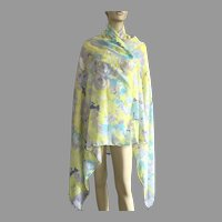 Large Sheer Cotton Floral Scarf / Shawl