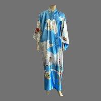 Kimono Style Polyester Robe Asian Scenes Flowers