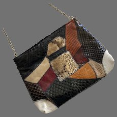 1960's Caprice Reptile Skin & Embossed Leather Purse With Chain Handle