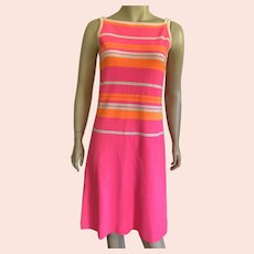 Vintage Italian Striped Neon Hand Loomed Knit Dress 1960's 70's