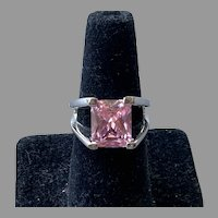 Sterling Silver Ring With Faceted Light Pink Stone Size 7.75