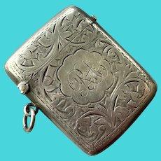 Antique Engraved English Sterling Match Safe Vesta For Chatelaine
