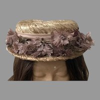Vintage Straw Boater Hat With Ribbon & Silk Flowers