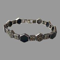 Art Deco Sterling Black Onyx Marcasite Bracelet
