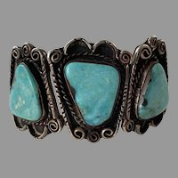 Vintage Native American Blue Gem Turquoise Cuff Bracelet Three Large Stones