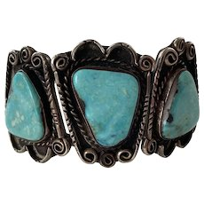 Vintage Native American Blue Gem Turquoise Cuff Bracelet Three Large Stones
