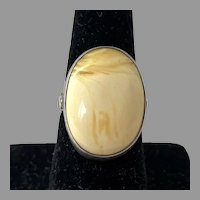 Sterling Light Yellow Opaque Amber Ring Size 8