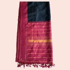 Vintage Indian Black, Red, Yellow, Gold Sari / Fabric