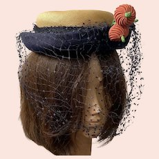 1950's Natural Straw Hat With Navy Band, Veil and Flowers