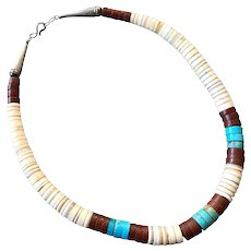Native American Graduated Heishi Necklace Turquoise Pipestone Shell