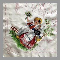 Vintage Hand Painted Holland Dutch Souvenir Scarf