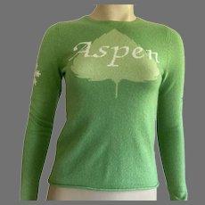 Christopher Fischer Lime Green Cashmere Sweater Aspen Theme XS