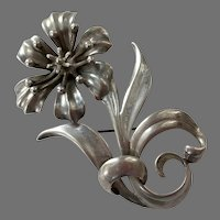 Large Sterling Figural Flower Pin
