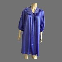 Vintage Miss Elaine Purple Nylon & Lace Robe 1960' 70's