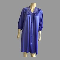 Vintage Miss Elaine Purple Nylon & Lace Robe 1960' 70's