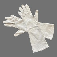 Van Raalte Ivory Leather Long Gloves Made In USA Size 8