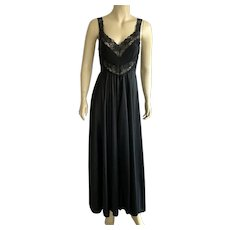 1970's Black Nylon Negligee Nightgown With Lace Details