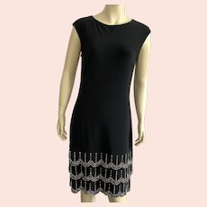 Frank Lyman Black Slinky Dress With Silver Beading Made In Canada