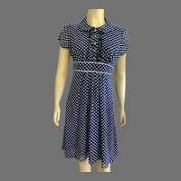 Vintage 1990's Navy & White Polka Dot Dress By Jodi Kristopher Made In USA