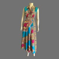 Vintage Colorful Ethnic Print Sleeveless Cotton Maxi Dress