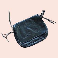 Bosselti Black Patchwork Leather Shoulder Bag Purse Made In Spain