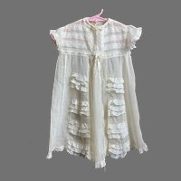 REDUCED Antique Child's / Doll Silk Crepon Dress With Lace Details