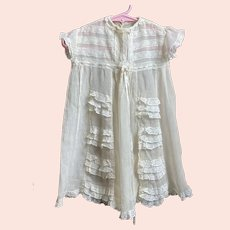 Antique Child's / Doll Silk Crepon Dress With Lace Details