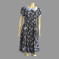 Vintage 1940's Inspired Dress With Birds Pattern