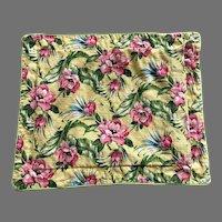 Vintage Waverly Barkcloth Tropical Print Pillow Sham