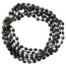 Vintage Seven Strand Black Glass Beaded Necklace