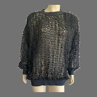 1980's Fancy Evening Black Ribbon Top Size L By Nightworks