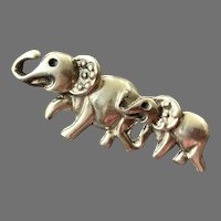 Sterling Mother & Child Elephant Pin