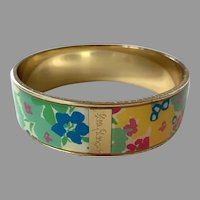 Lilly Pulitzer Gold Tone Floral Bangle Bracelet