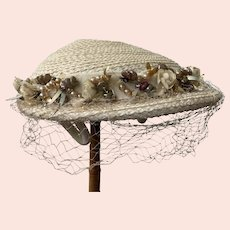 1950's Cream Straw Hat With Veil, Faux Pearls, Flowers, Sequins