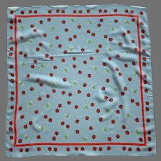 Small Polyester Scarf Ladybugs & Dragonflies Made In Italy